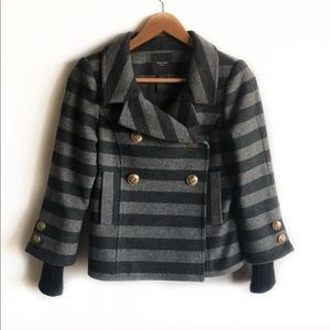 Smythe wool and cashmere pea coat in gray stripe